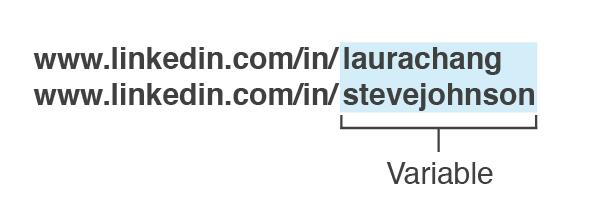 Example of variable parameter on Linkedin URLs.