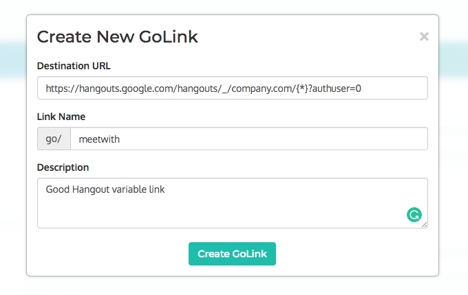 Creating a variable go link in GoLinks