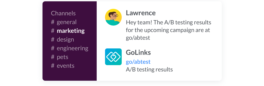 Using a go link in the marketing Slack channel to share a/b testing results