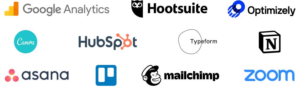 Examples of tools marketers use: Google Analytics, Hootsuite, Optimizely, Canva, Hubspot, Typeform, Notion, Asana, Trello, Mailchimp, Zoom