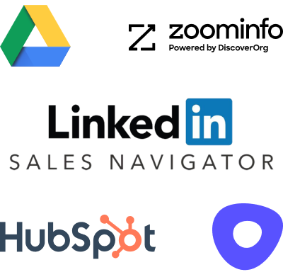 Sales prospecting tools: Google Drive, Zoominfo, Linkedin Sales Navigator, HubSpot, Outreach