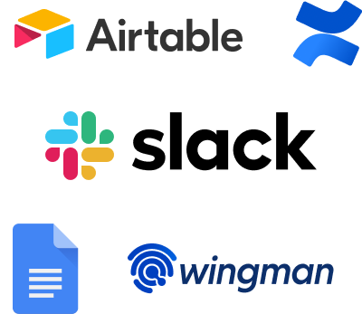 Sales communication tools: Airtable, Confluence, Slack, Google Docs, Wingman