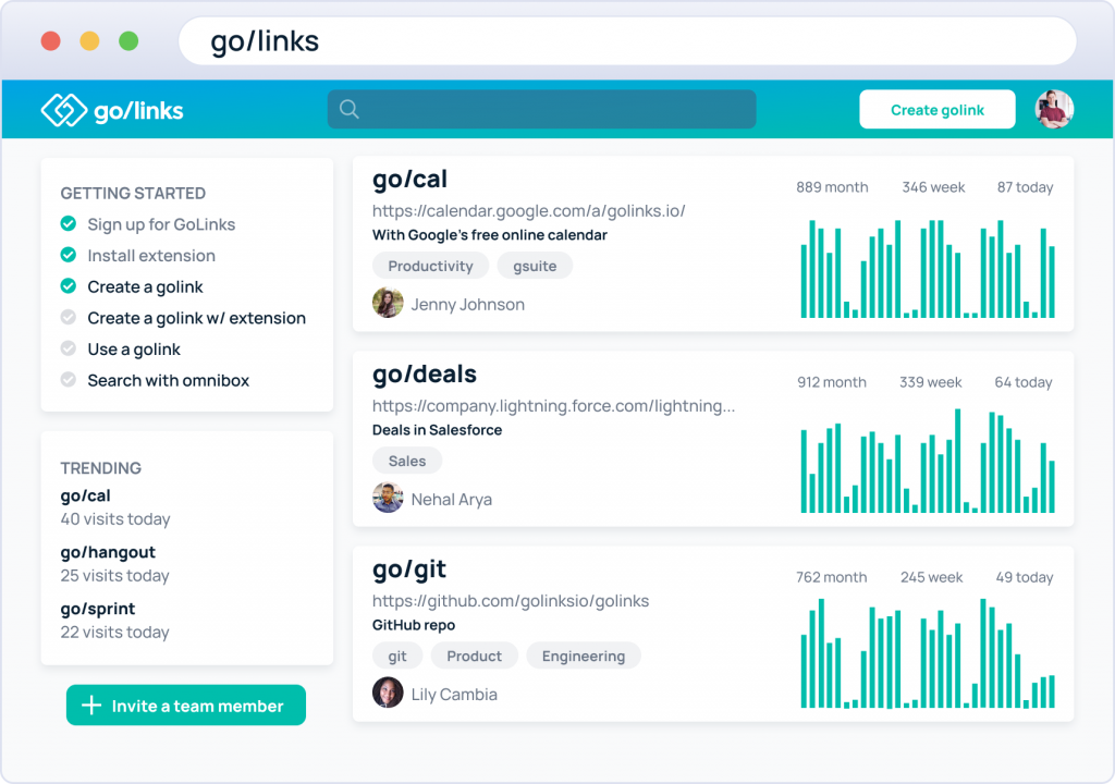 GoLinks dashboard showing software usage to track low software utilization