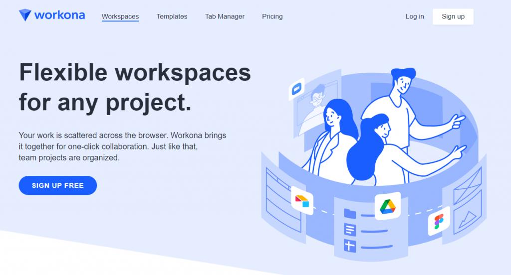 Workona enterprise app landing page