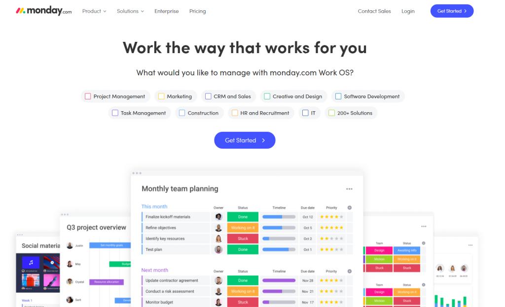 monday.com enterprise app landing page