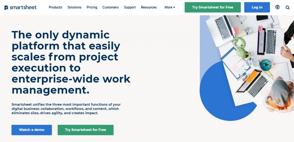 Smartsheet enterprise app landing page
