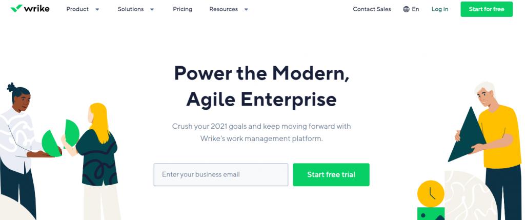 Wrike enterprise app landing page