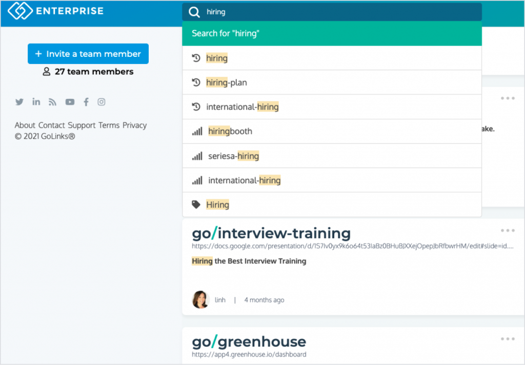 GoLinks platform showing recruiting and hiring go links.