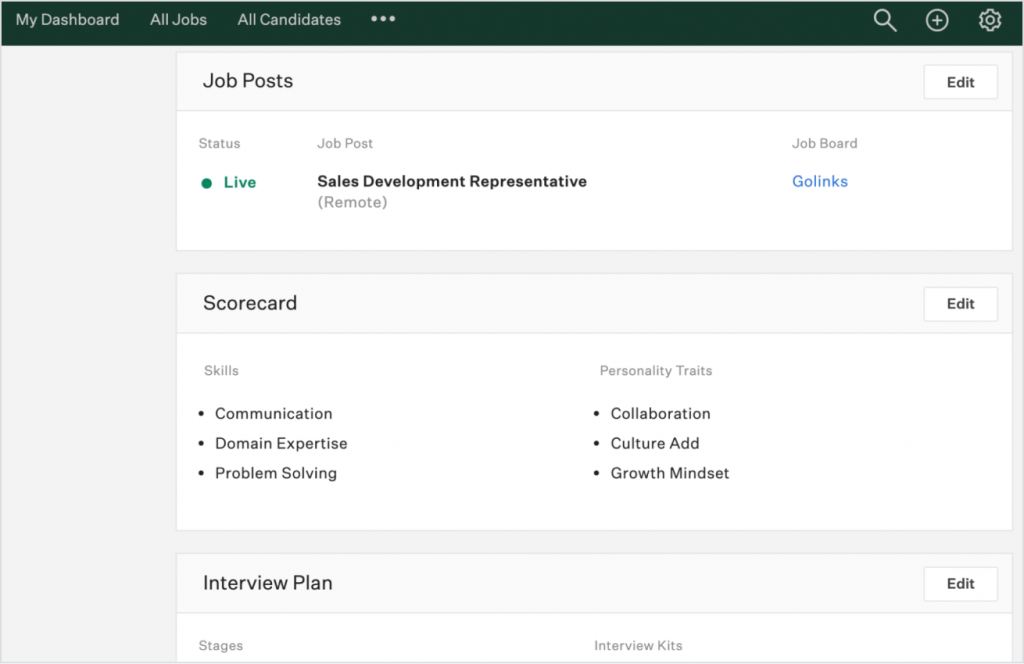 Greenhouse applicant tracking system job posts